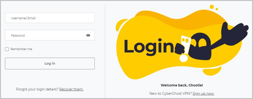 cyberghost-website-login-screen