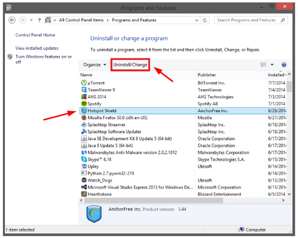 uninstall-hotspot-shield-through-in-the-programs-and-features-menu-of-control-panel