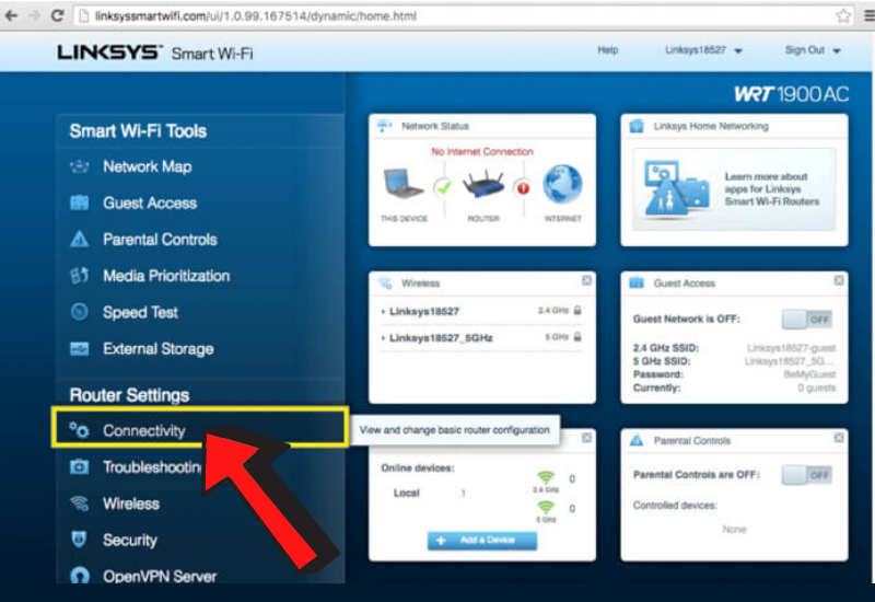 linksys-router-connectivity-setting