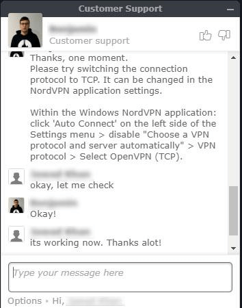 NordVPN chat support