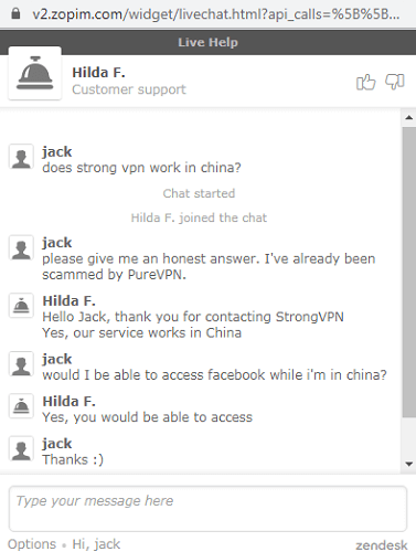 chat support strongvpn