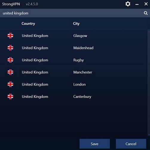 server selection in strongvpn app