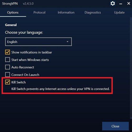 strongvpn offers kill switch