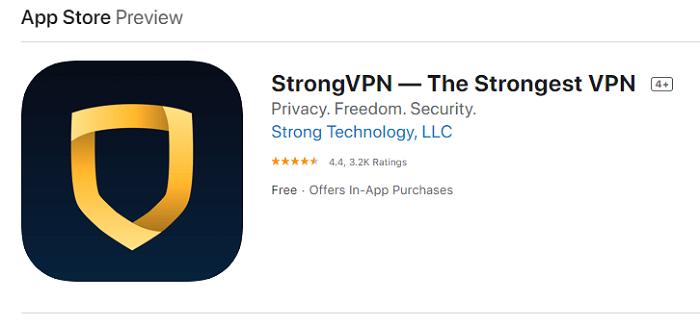 StrongVPN App Store rating
