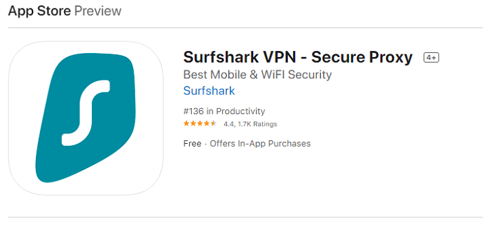 Surfshark App Store rating