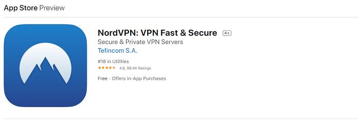 nordvpn ios app store
