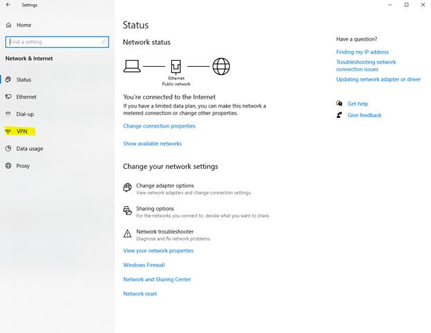 check VPN status in windows 10