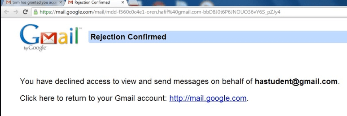 gmail rejection confirmed