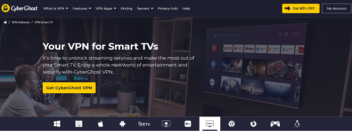 cyberghost smart tv vpn