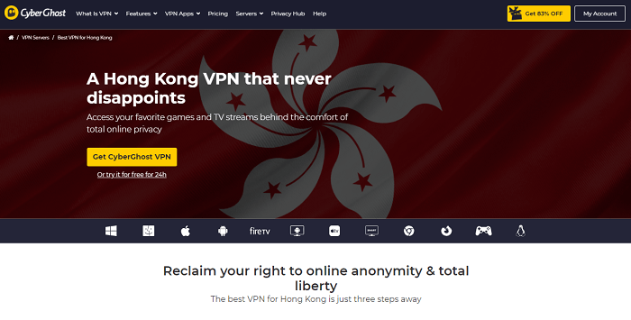 cyberghost vpn for hong kong