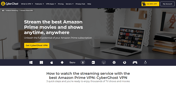 cyberghost vpn for unblocking amazon prime video