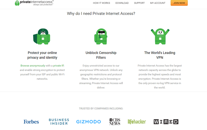 private internet access no-logs vpn service