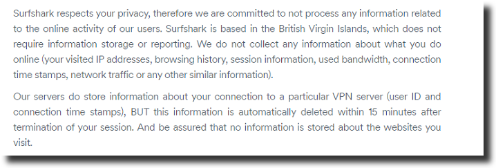 surfshak no logs policy