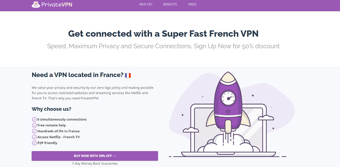 privatevpn to get french ip address