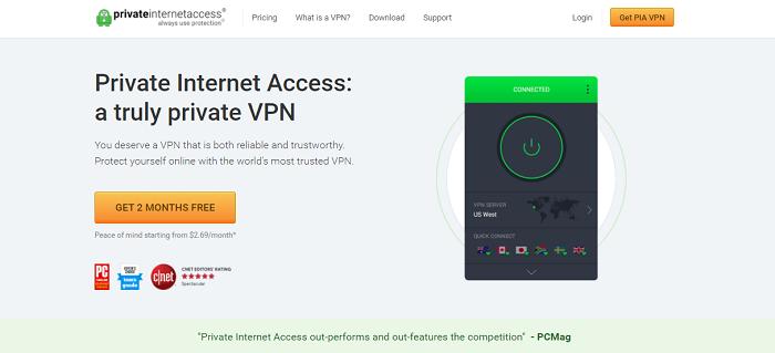 private internet access for accessing hulu in ca