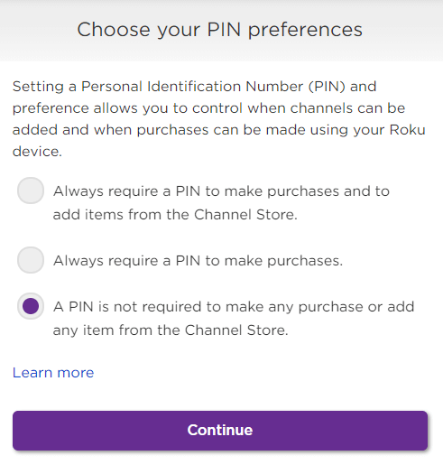 choose your pin preferences for roku