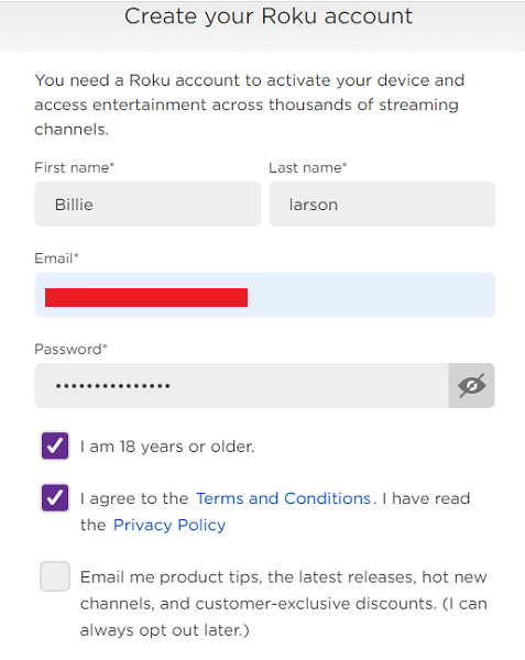 create your roku account in canada